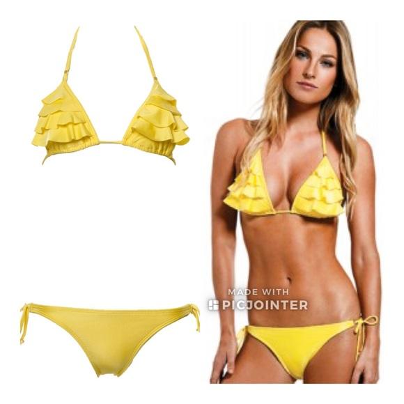 b8b17f177bb24 ViX Sun Yellow Ruffle Bikini S Small